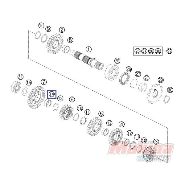 0405202612 Ρουλεμάν Αξονα Σασμάν KTM EXC '00-'17 SX '00-'17