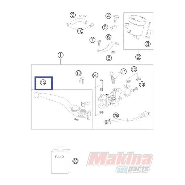 62513002000 Hand Brake Lever KTM Duke-690 '08'11