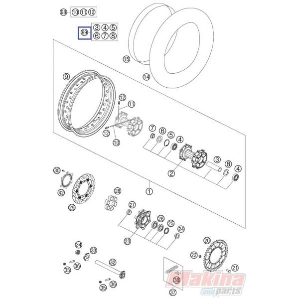 60010015010 Rear Wheel Repair Kit KTM Adventure 950-990