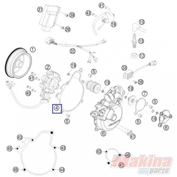 55130040000 Φλάντζα Καπακιού Βολάν KTM EXC-250-300 '07-'14