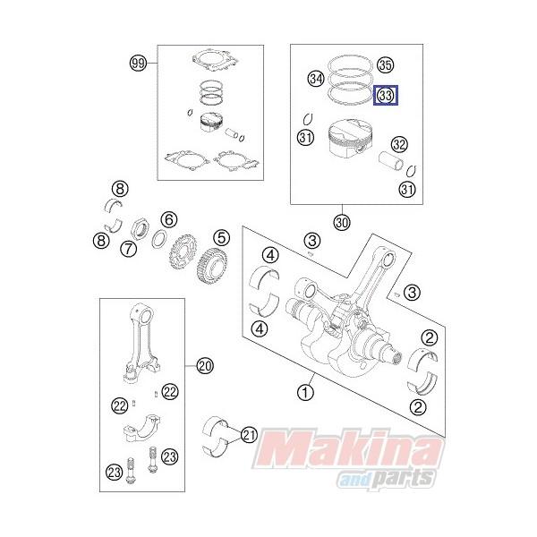 61030032000 Oil Scraper Ring KTM LC8-990