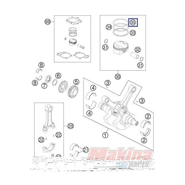61030030000 Piston Ring (L-Ring) KTM LC8-990