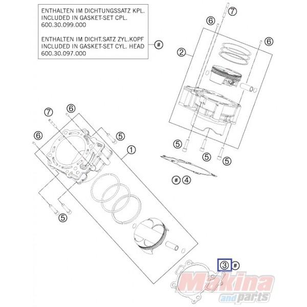 60030035000 Cylinder Base Gasket Front KTM LC8-950-990