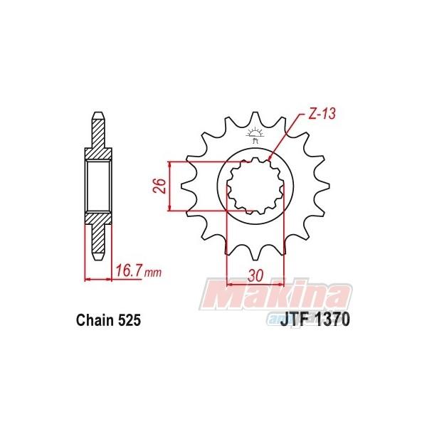 JTF1370.16RB JT Front Sprocket Honda XL-1000V Varadero