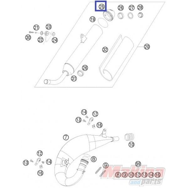 54805079052 Καπάκι Τελικού Εξάτμισης 2T KTM EXC-SX '04-'10
