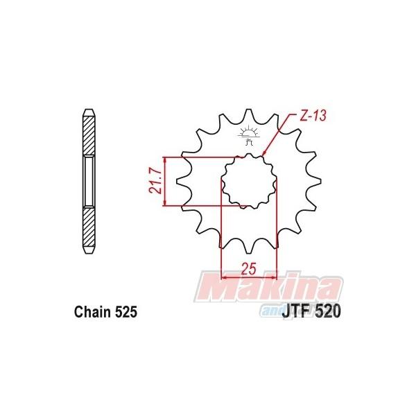 JTF520.16 JT Γρανάζι Εμπρός Yamaha TDM-850 '99-'01