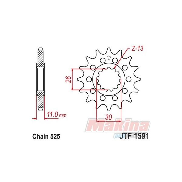 JTF1591.16RB JT front sprocket Yamaha TDM-900 MT-07 MT-09