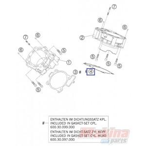 60030135000 Cylinder Base Gasket Rear KTM LC8-950-990