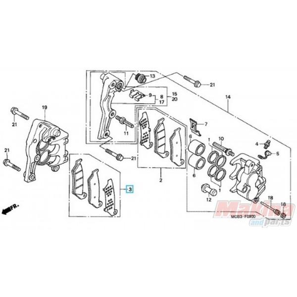06456MCB612 Τακάκια Εμπρός Δεξιά Honda XL-650V Transalp