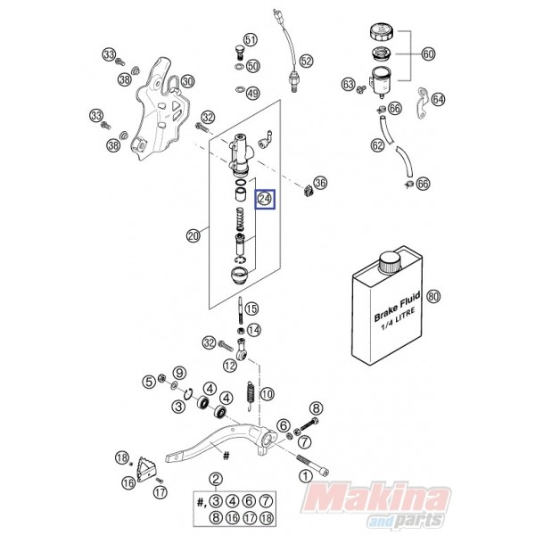 54513150000 Repair Kit Piston Rear Brake KTM Duke 690 '08-'17