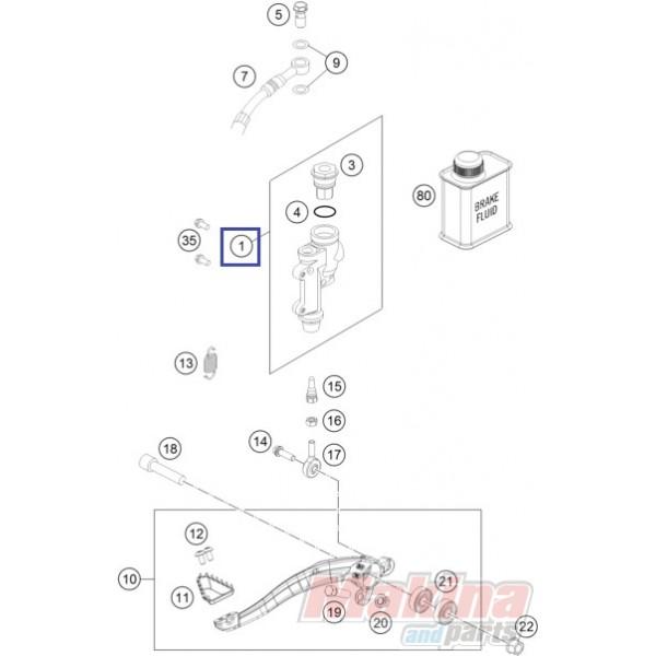77013060044 Rear Brake Cylinder Cpl. KTM EXC '13-'18 SX