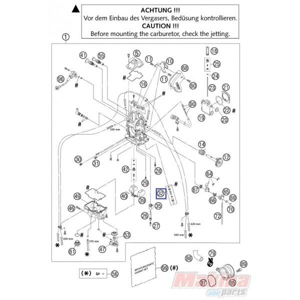 59031017100 Βίδα Ρύθμισης Καρμπυρατέρ KTM EXC-250-400-450
