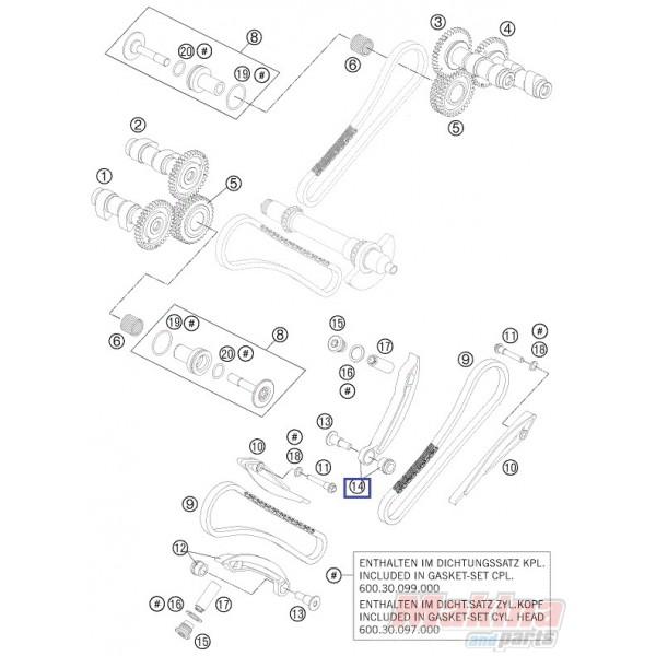 60036102000 Γλύστρα Τεντωτήρα Καδένας Χρονισμού Πίσω KTM