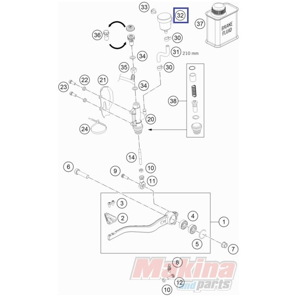 54513030044 Brakr Fluid Reservoir KTM Duke 640-690
