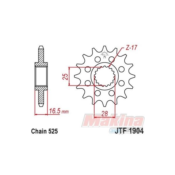JTF1904.17 JT Γρανάζι Εμπρός 17t. KTM ADV-950/990/1190