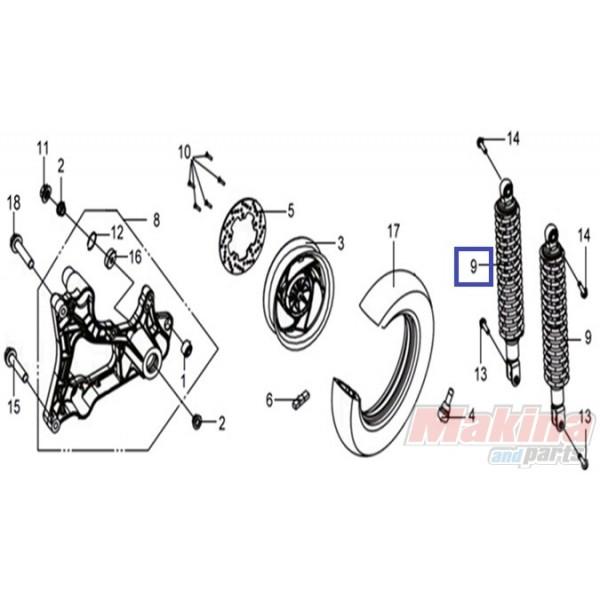 52400HMA000 Rear Shock Absorber SYM GTS-250-300