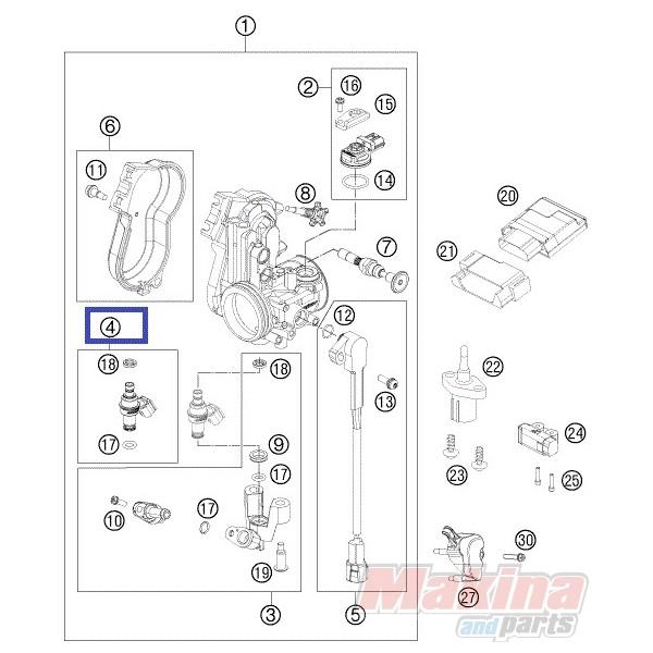77741023044 Injector Kit cpl. KTM SXF-250-350-450 '13-'15