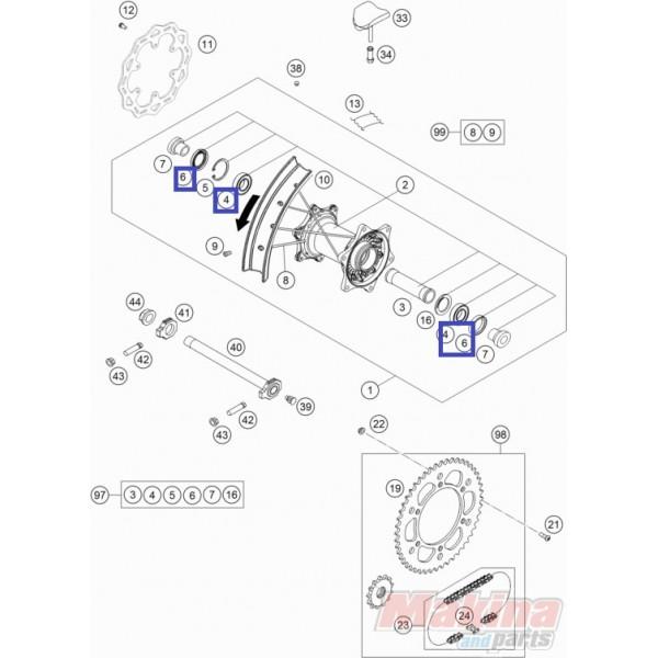 KTM07606005 Σετ Ρουλεμάν-Τσιμούχες Πίσω Τροχού KTM EXC-SX
