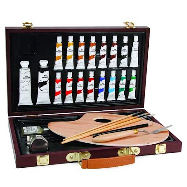 Darice Studio 27 Piece Oil Painting Art Set, Wood Box
