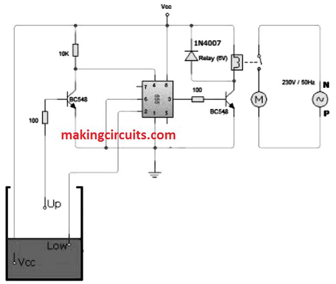 Dc 3 Pin Wiring Diagram Water Level Controller Circuit Using Ic 555