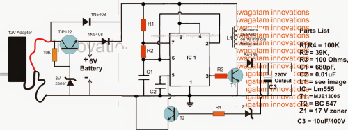small resolution of 6v to 220v boost ups circuit for satellite tv modems