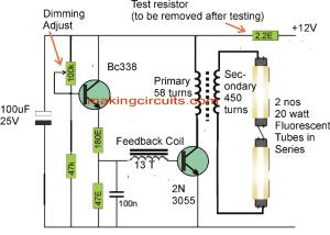 20 watt, 5 watt Fluorescent Lamp Inverter Circuit