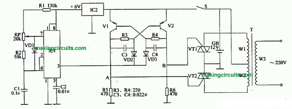 IC 555 Inverter Circuits