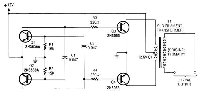 simple high power inverter by 2n3055