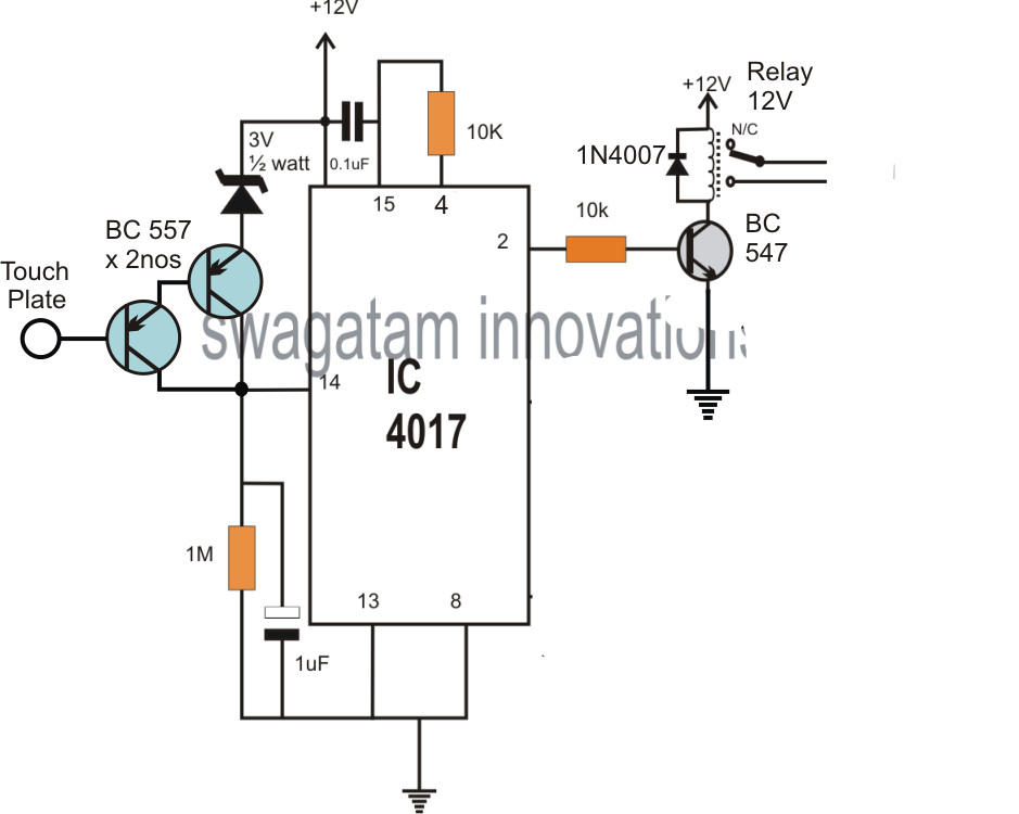 on off touch switch circuit diagram