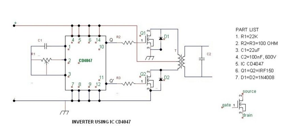 medium resolution of simple 100 watt inverter circuit