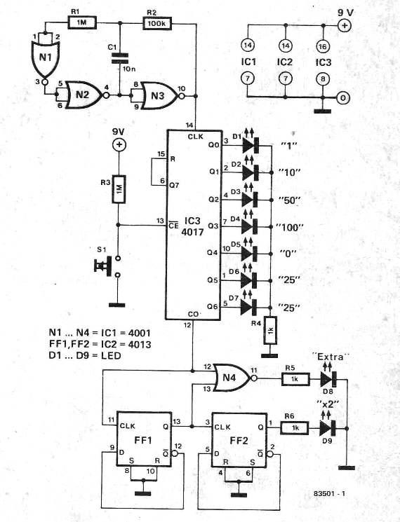 Simple Electronic Pinball Game Circuit