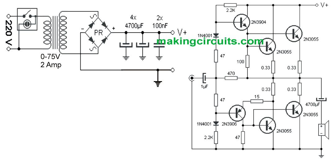 Simple 100 Watt Amplifier Circuit using 2N3055 Transistors