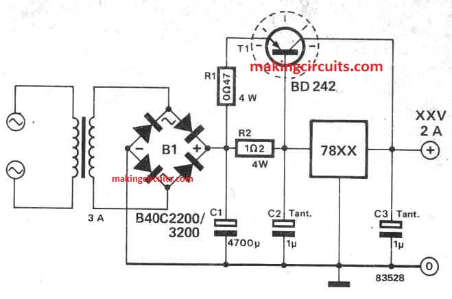 IC 7812, 7805 Current Booster Circuit