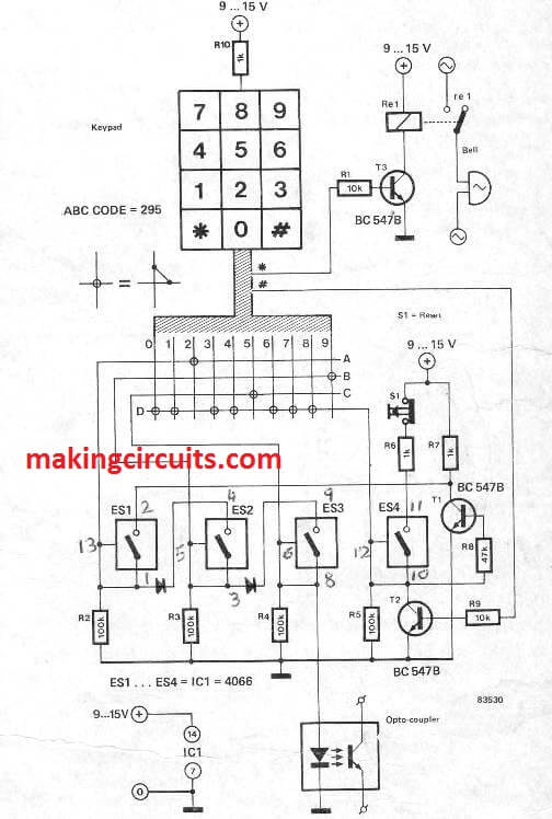 Keypad Lock Circuit using a Single IC