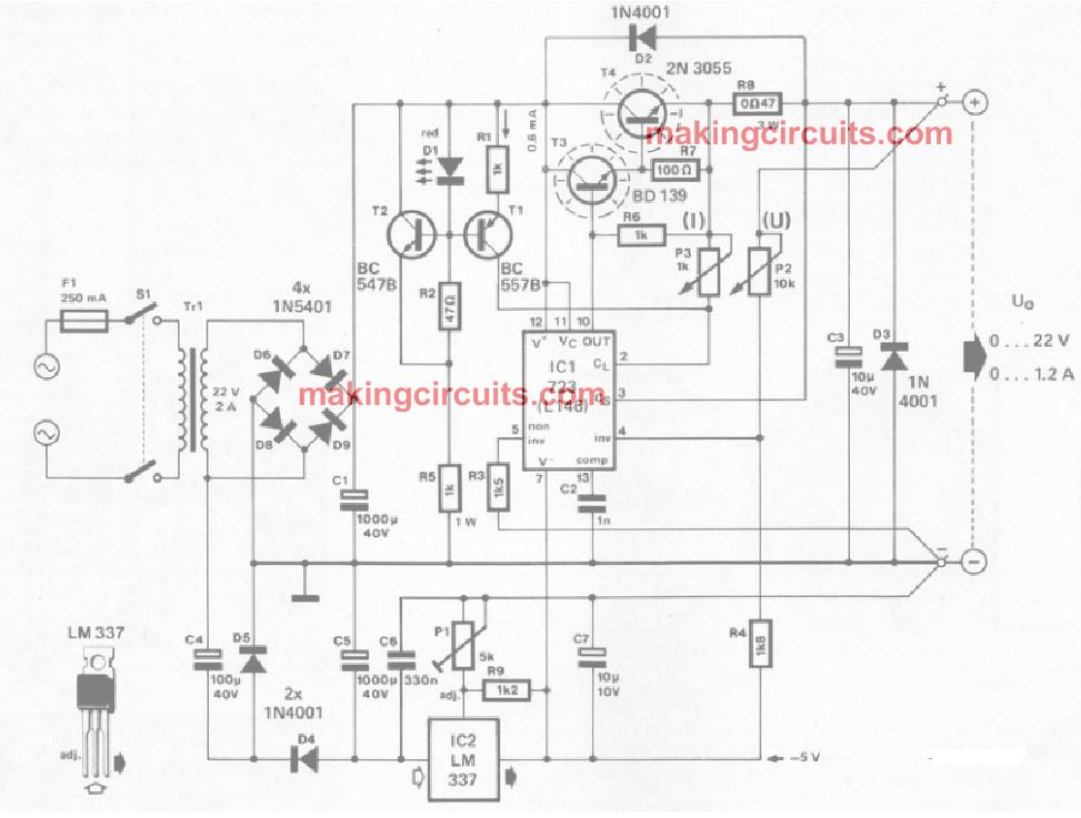 Designing a IC 723 Power Supply with Variable Voltage and