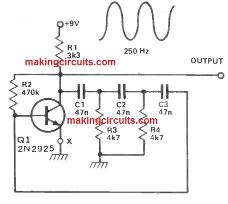 Single Transistor Sinewave Generator Circuit
