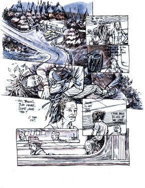 Dream Life pencils, done in blue and then here the darkest turned black for printing.