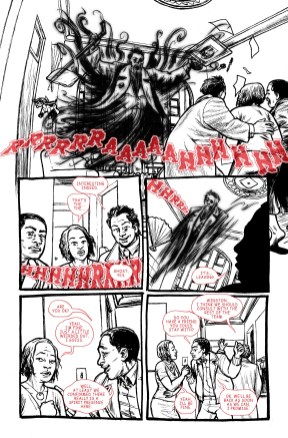 laying out the text in Photoshop on layers over my inked Ghostbusters pages.