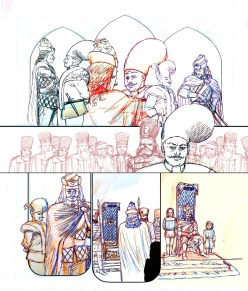 """""""Pencils"""" for Dracula Son of the Dragon. In this instance I drew not just each panel, but almost everything on it's own bit of scrap paper and scanned it in separately, adding them together in photoshop to experiment with the layout here. The colors come from the pencils and pens I used, slightly exaggerated so you can see the work."""