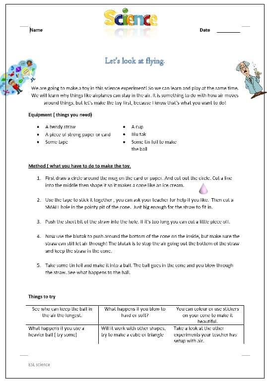 Floating ball Air pressure Worksheet.