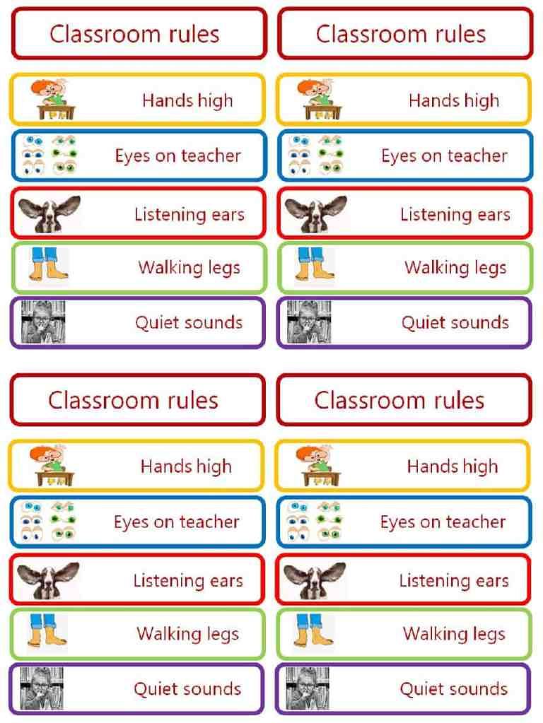 Back to school classroom rules poster