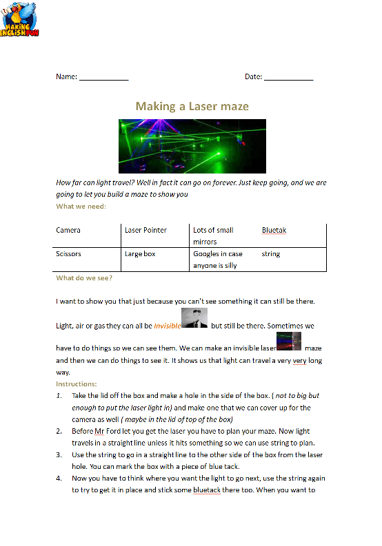 How to make a Laser Maze Lesson