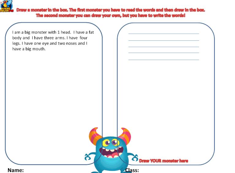 Monster Maker Worksheet