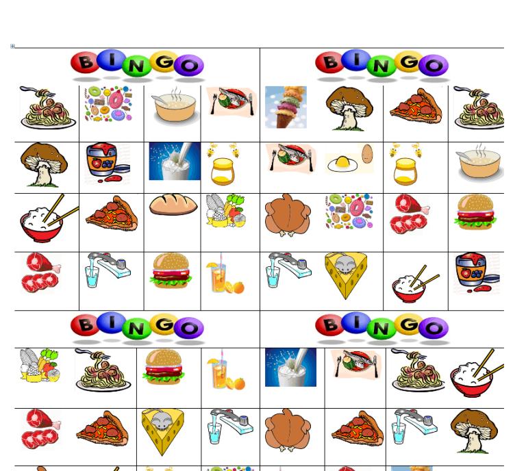 Food Bingo – Classroom Activity.