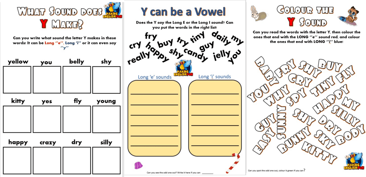 Y as a Vowel worksheets - Making English Fun [ 680 x 1400 Pixel ]