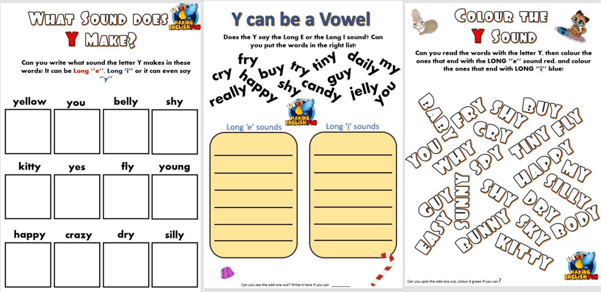 Y as a Vowel worksheets - Making English Fun [ 680 x 1400 Pixel ]