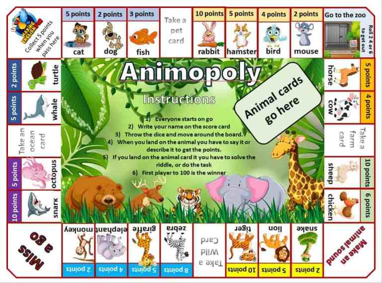 Animal Monopoly! A Great Classroom Game for Small Groups.