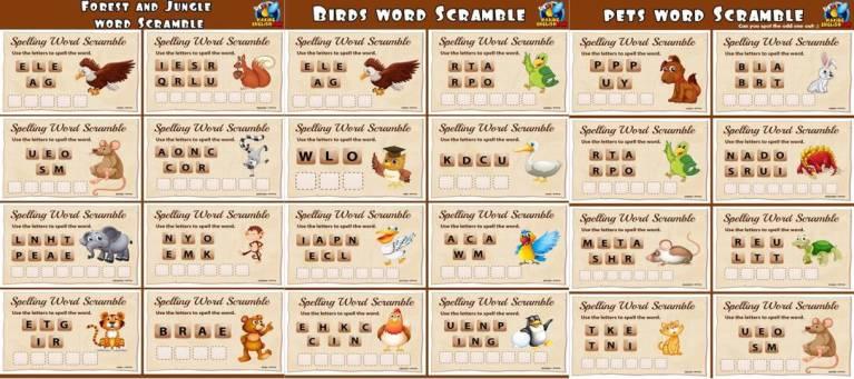 Animal Word Scramble Worksheets