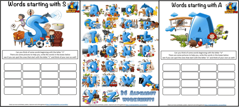 26 Picture Alphabet worksheets and Answer Keys.