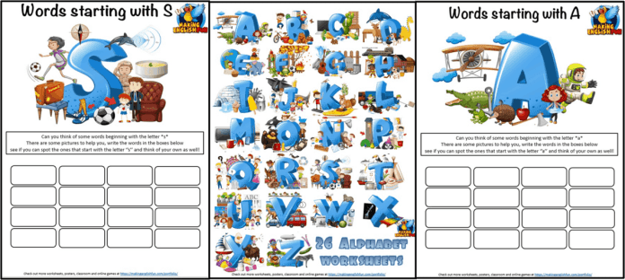 26 ABC Picture worksheets